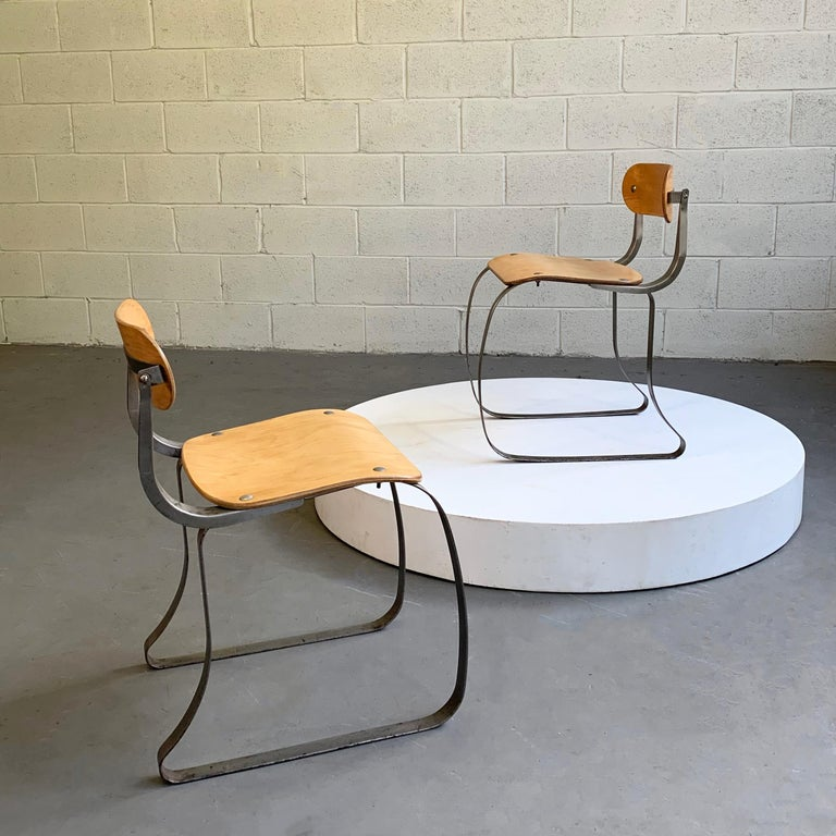 Industrial Pair of Health Chairs by Herman Sperlich for Ironite For Sale