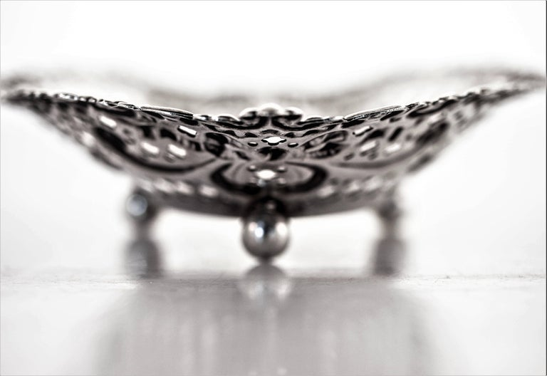 Sterling Silver Pair of Heart Dishes For Sale