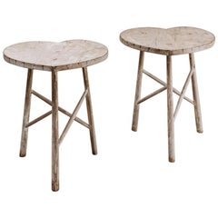 Pair of Heart-Shaped Tables, Elmwood