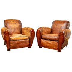 Pair of Heavily Distressed Art Deco Tobacco Leather Club Chairs