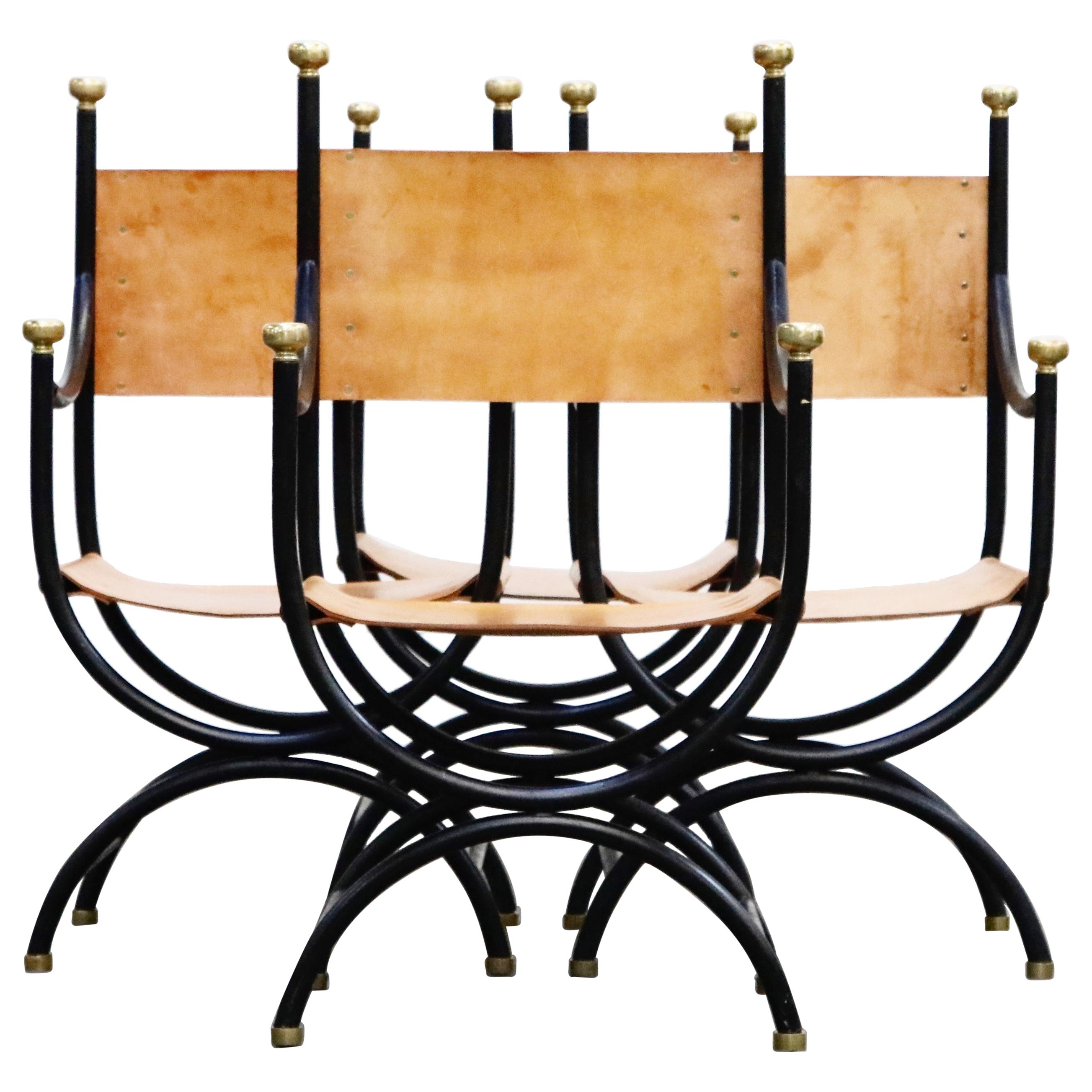 Pair of Heavy Brass, Iron and Thick Leather Savonarola Directors Chairs