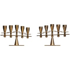 Pair of Heavy Candlesticks in Brass Produced by Kara in Denmark