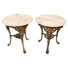 Pair of Heavy Cast Iron Bases Marble Tops Cafe Center Guéridon Tables