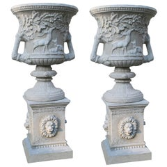 Pair of Heavy Classical Style Garden Urns