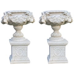 Pair of Heavy Composite Stone Ram's Head Garden Urns on Pedestals