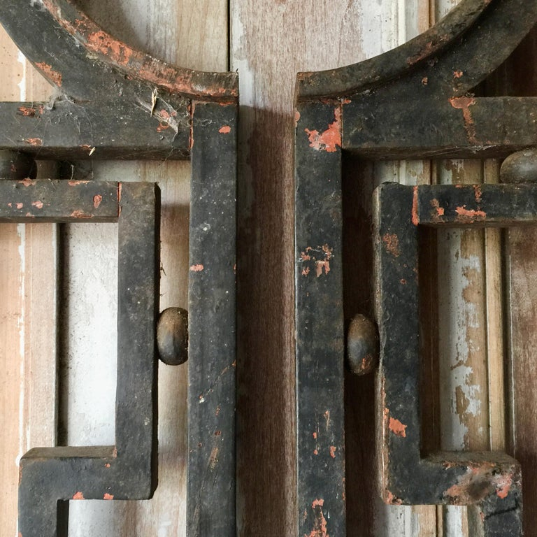 Hand-Crafted Pair of Heavy French Antique Iron Gates For Sale