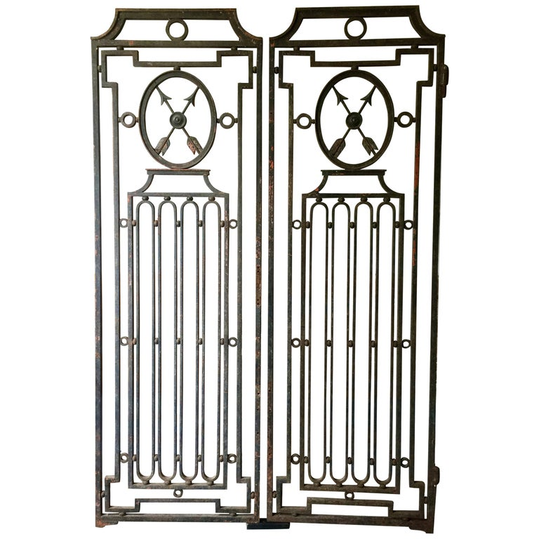 Pair of Heavy French Antique Iron Gates For Sale