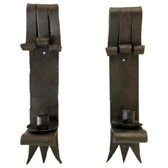 Pair of Heavy Hand Forged Iron Sconces