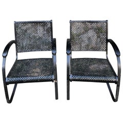 Pair of Heavy Iron Cantilever Garden Chairs from the 1930s