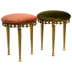 Pair of Heavy Unused 1970s Brass Stools with Velvet Cover by Orsenigo Furniture