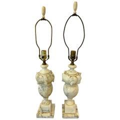 Pair of  Heavy Vintage Alabaster Lamps