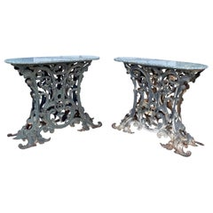 Pair of Heavy Wrought Iron Oval Console Tables, France, 1880