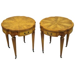 Pair of Heirloom Weiman Crotch Flame Mahogany Federal One Drawer Side End Tables