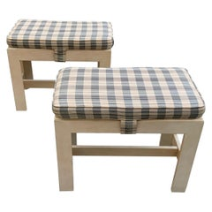 Pair of Hekman Furniture Bleached Burl Wood Benches
