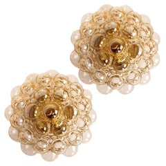 Pair of Helena Tynell Amber Bubble Flush Mounts or Wall Sconces, 1960s