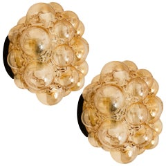 Pair of Helena Tynell Amber Bubble Flush Mounts/Wall Sconces, 1960s