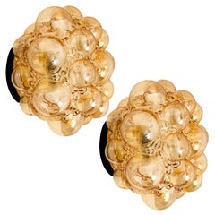 Pair of Helena Tynell Amber Bubble Flushmounts/Wall Sconces, 1960s