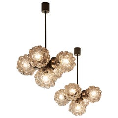 Pair of Helena Tynell Chandeliers with Structured Glass