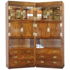 Pair of Hendredon Military Campaign Display Drinks Cabinets Spotlights & Power