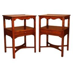 Pair of Henkel Harris Solid Cherry Nightstands Tables