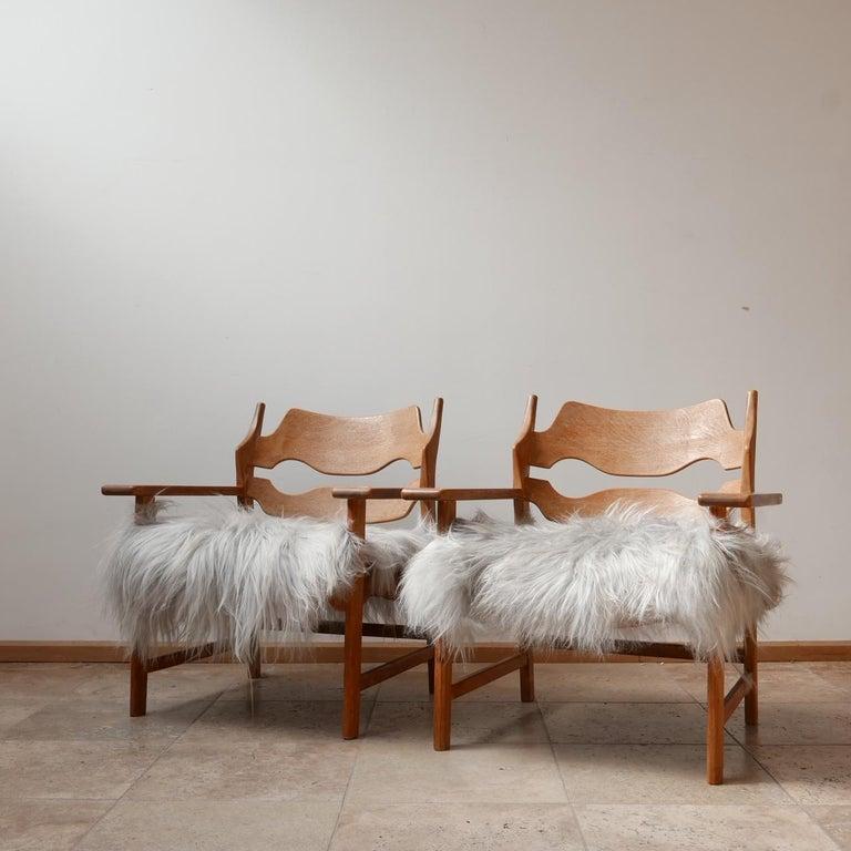 Pair of Henning Kjaernulf Danish Mid-Century Oak 'Razorblade' Sheepskin Armchair 5
