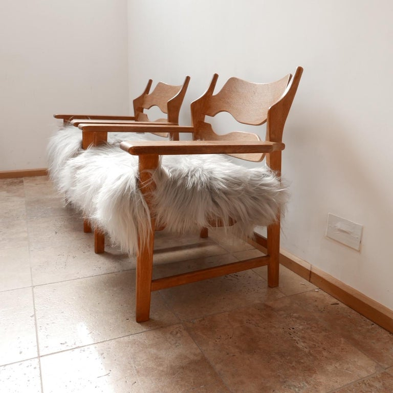 Pair of Henning Kjaernulf Danish Mid-Century Oak 'Razorblade' Sheepskin Armchair 1