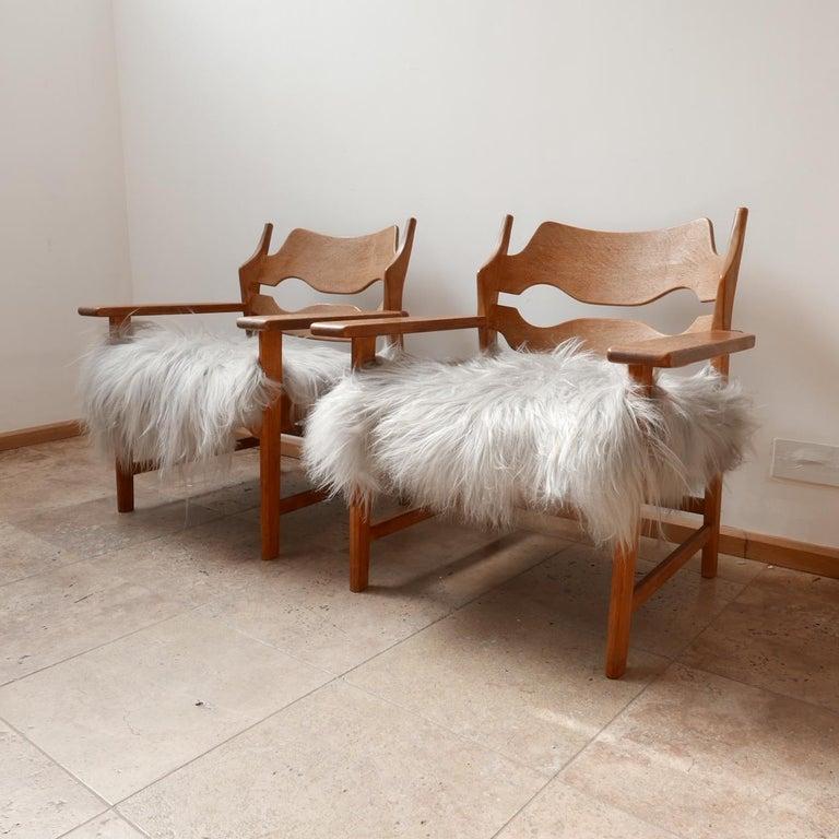 Pair of Henning Kjaernulf Danish Mid-Century Oak 'Razorblade' Sheepskin Armchair 2