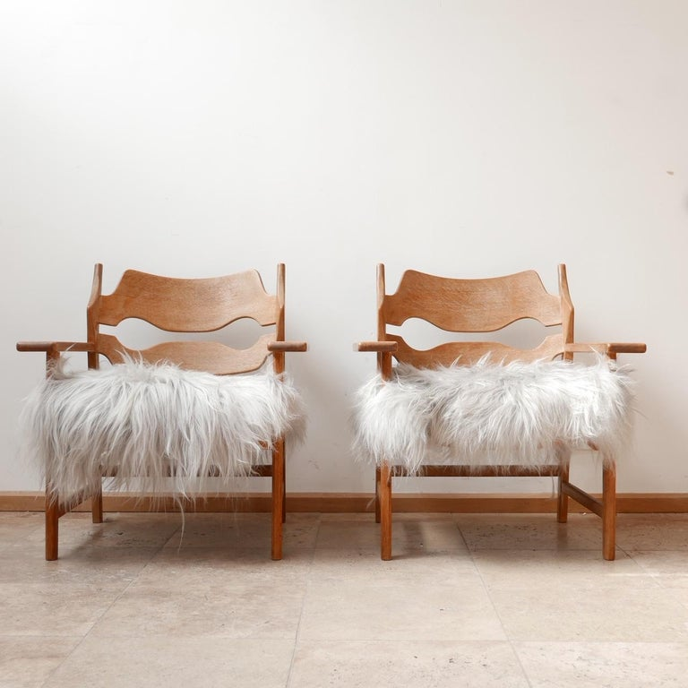 Pair of Henning Kjaernulf Danish Mid-Century Oak 'Razorblade' Sheepskin Armchair 3
