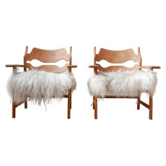 Pair of Henning Kjaernulf Danish Mid-Century Oak 'Razorblade' Sheepskin Armchair