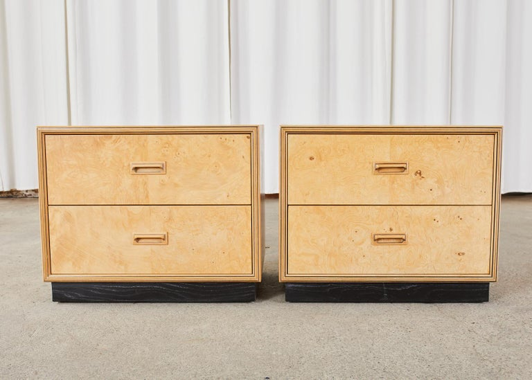 Pair of Henredon Burlwood Bachelor's Chests or Nightstands For Sale 3