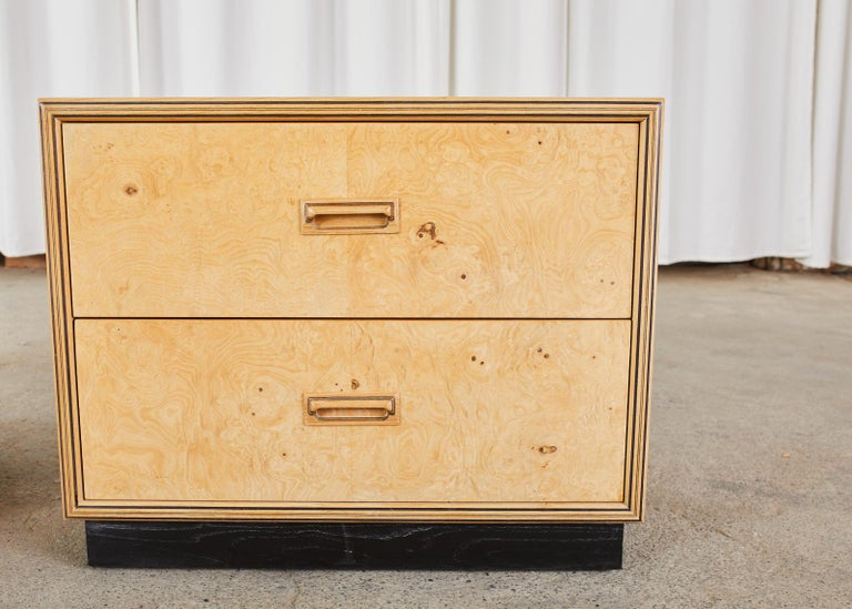 Hand-Crafted Pair of Henredon Burlwood Bachelor's Chests or Nightstands For Sale