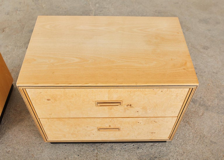 Pair of Henredon Burlwood Bachelor's Chests or Nightstands For Sale 1