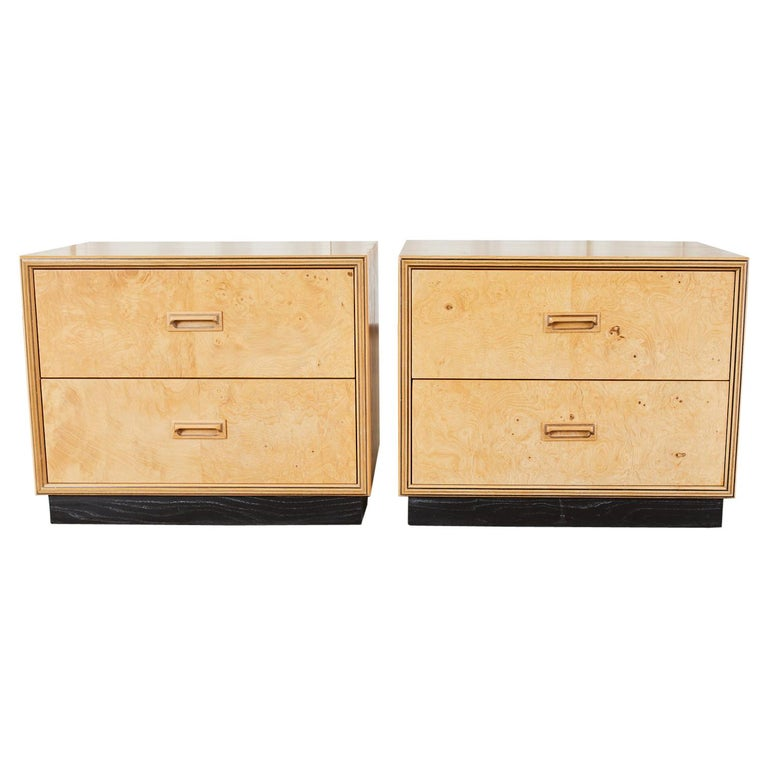 Pair of Henredon Burlwood Bachelor's Chests or Nightstands For Sale
