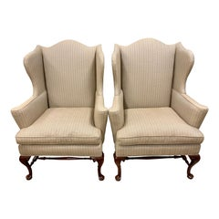 Pair of Henredon Chippendale Wingback Reading Chairs