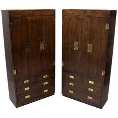 Pair of Henredon Fruitwood Brass Hardware Tall Chests Cabinets