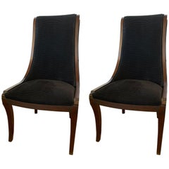 Pair of Henredon Matching Dining Chairs with Black Velvet Upholstery