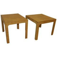 Pair of Henredon Scene Two Burled Olive Wood End Side Tables