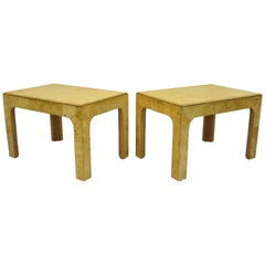 Pair of Henredon Scene Two Burled Olive Wood Low Side End Tables Parsons Style