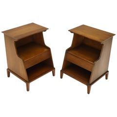 Pair of Henredon Walnut One-Drawer End Tables Nightstands
