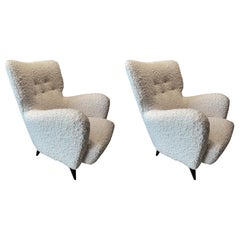 Pair of Henri Caillon Armchairs for Erton, France, 1950s