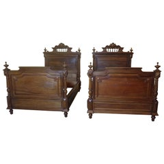 Pair of Henri II French beds in Walnut, C1880