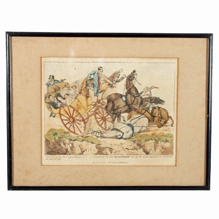 A pair of 19th century coloured etchings by Henry Aitken.  The etchings are of two coach and horse accidents with satirical script underneath describing the scenes.  The etchings were published by S&J Fuller in 1817 and are held in narrow edged