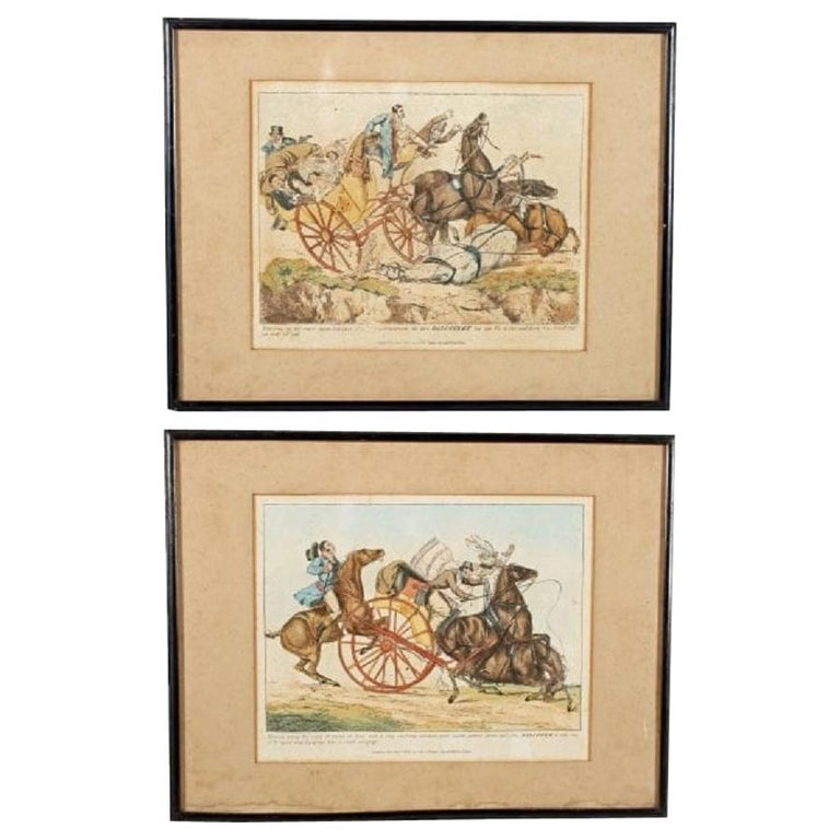 Pair of Henry Aitken Coloured Etchings, 19th Century For Sale