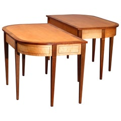 Pair of Hepplewhite Bird's-Eye and Tiger Maple Banded Mahogany Game Tables