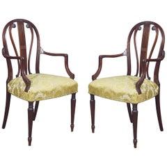 Pair of Hepplewhite Design Mahogany Armchairs