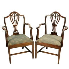 Pair of Hepplewhite Elbow Chairs
