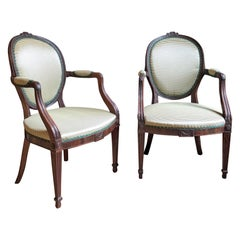 Pair of Hepplewhite Mahogany Armchairs