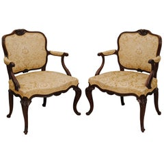 Pair of Hepplewhite Period Carved Mahogany Open Armchairs