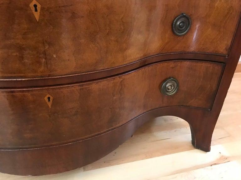 Mid-20th Century Pair of Hepplewhite Serpentine 1940s American Dressers For Sale