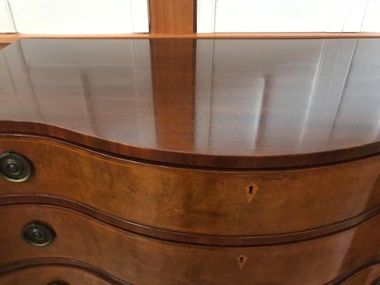 Brass Pair of Hepplewhite Serpentine 1940s American Dressers For Sale